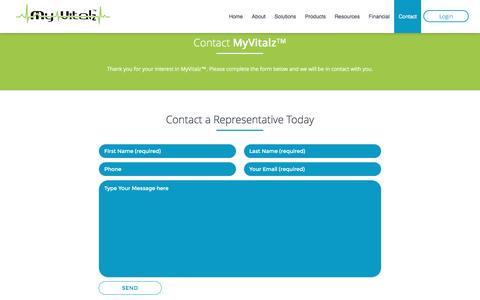 Screenshot of Contact Page myvitalz.com - Contact | MyVitalz™ - captured Dec. 17, 2016