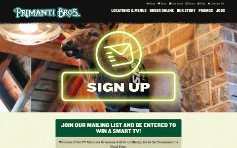 Screenshot of Signup Page primantibros.com - Sign Up for the Mailing List - Primanti Bros. Restaurants - captured June 23, 2017