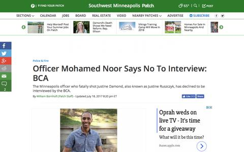 Screenshot of patch.com - Officer Mohamed Noor Says No To Interview: BCA - Southwest Minneapolis, MN Patch - captured July 19, 2017
