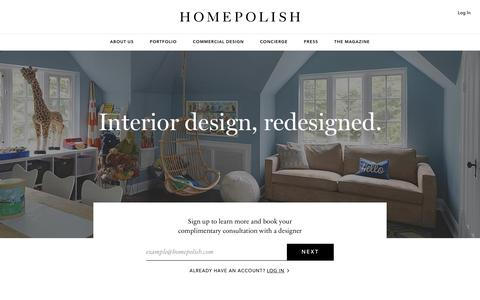 Screenshot of home page homepolish com homepolish seamless and personal interior design