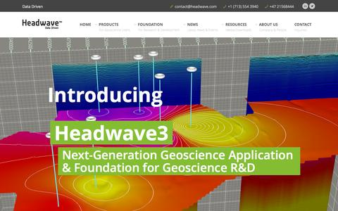 Screenshot of Home Page headwave.com - Headwave, Inc - provider of innovative end-user geoscience products and foundation for geoscience R&D | Headwave - captured Sept. 20, 2015