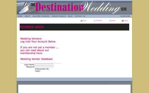 Screenshot of Login Page thedestinationweddingsite.com - The Destination Wedding Site - captured Oct. 26, 2014