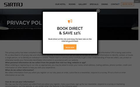 Screenshot of Privacy Page sirtajhotel.com - Privacy Policy   Sirtaj Hotel - captured Nov. 15, 2018