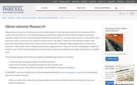 Screenshot of parexel.com - Observational Research | Non Interventional Studies | PAREXEL - captured Sept. 12, 2017