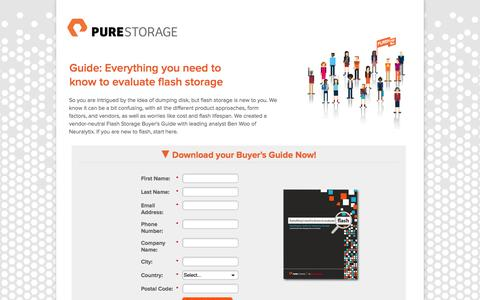 Screenshot of Landing Page purestorage.com - Everything I Need to Know to Evaluate Flash - Buyer's Guide - captured Oct. 27, 2014