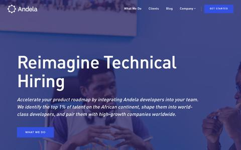 Screenshot of Home Page andela.com - Hire the top 1% of software developers - Andela - captured March 8, 2016