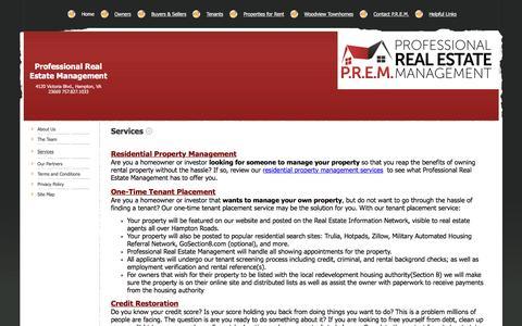 Screenshot of Services Page premrentals.com - Professional Real Estate Management - Services - captured Feb. 1, 2016