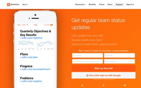 Screenshot of Home Page weekdone.com - Weekdone weekly progress reports, OKR software and internal communication for team collaboration - captured Nov. 27, 2015