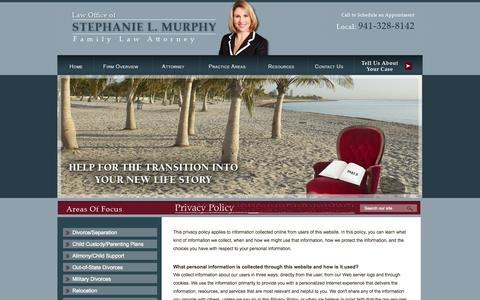 Screenshot of Privacy Page mydivorcelawyersarasota.com - Privacy Policy | Law Office of Stephanie L. Murphy | Sarasota, Florida - captured Oct. 2, 2014