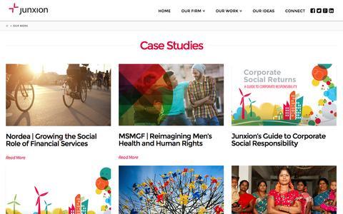 Screenshot of Case Studies Page junxion.com - Our Work   Junxion Strategy - captured Aug. 7, 2016