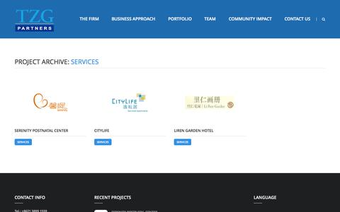 Screenshot of Services Page tzgpartners.com - Services | Portfolio Category | TZG Partners - captured Sept. 30, 2014
