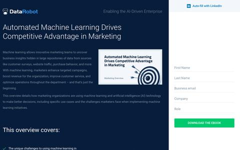 Screenshot of Landing Page datarobot.com - Automated Machine Learning Drives Competitive Advantage in Marketing - DataRobot - captured Sept. 19, 2018
