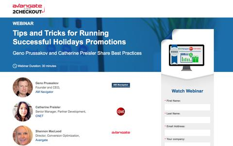 Screenshot of Landing Page avangate.com - Webinar: Tips and Tricks for Successful Holidays Promotions - captured April 13, 2018