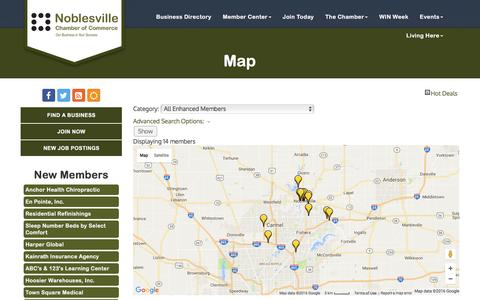 Screenshot of Maps & Directions Page noblesvillechamber.com - Map - Noblesville Chamber of Commerce, IN - captured Nov. 30, 2016