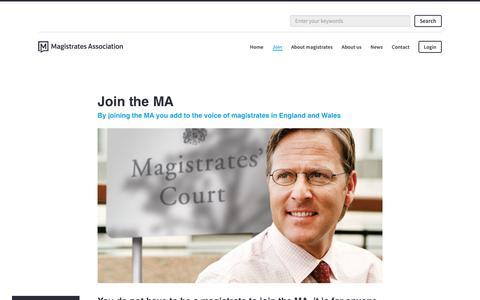 Screenshot of Signup Page magistrates-association.org.uk - Join the MA | Magistrates Association - captured Dec. 3, 2016