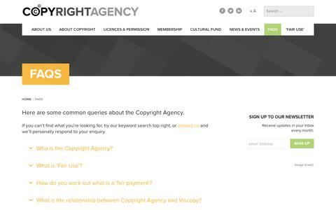 Screenshot of FAQ Page copyright.com.au - FAQs - Copyright Agency - captured Aug. 29, 2017