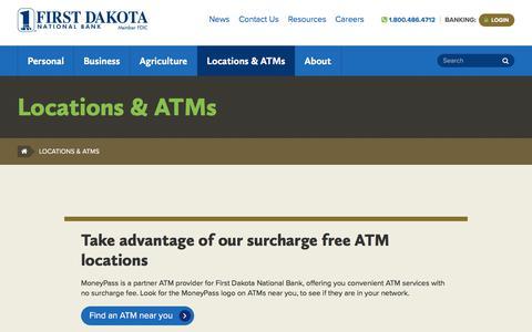 Screenshot of Locations Page firstdakota.com - Locations & ATMs - First Dakota National Bank - captured Oct. 13, 2017