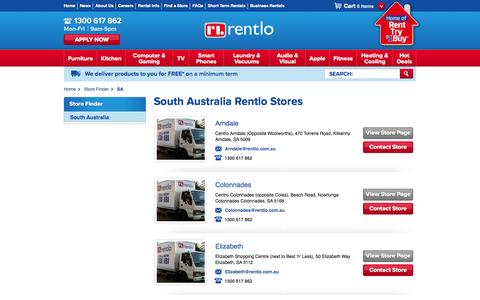 Screenshot of Locations Page rentlo.com.au - Furniture, laptop computer & Appliance Rentals SA | Radio Rentals - captured Oct. 9, 2014
