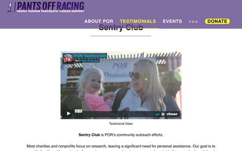 Screenshot of Testimonials Page pantsoffracing.com - Sentry Club - captured Nov. 9, 2018