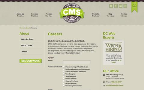 Screenshot of Jobs Page cmsadgroup.com - Careers   CMS Advertising Group   Web Design   UX/UI   Alexandria, VA - captured Oct. 1, 2014