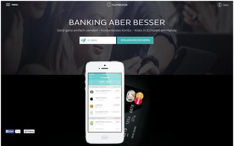 Screenshot of Home Page Blog number26.de - Number26 - captured Sept. 17, 2014