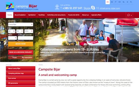 Screenshot of Home Page camp-bijar.com - Camping Bijar - Cres Island | Camp Bijar - captured Sept. 18, 2015
