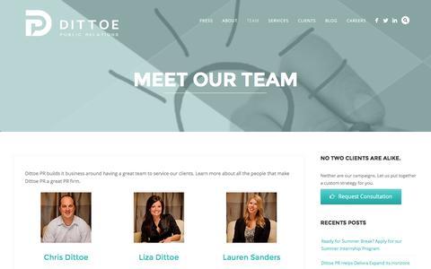 Screenshot of Team Page dittoepr.com - PR Team | Dittoe PR - captured Feb. 9, 2016