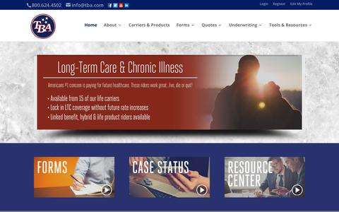 Screenshot of Home Page tba.com - TBA | - captured July 21, 2017