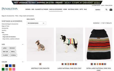 Screenshot of pendleton-usa.com - Dog Coats & Sweaters | Bags & Accessories Pets | Pendleton - captured Dec. 14, 2017