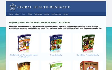 Screenshot of Products Page globalhealthrenegade.com - Store — Global Health Renegade - captured Sept. 30, 2014