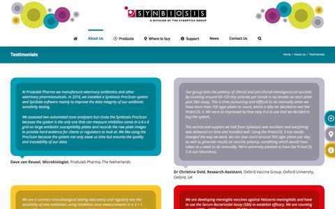 Screenshot of Testimonials Page synbiosis.com - Testimonials - Synbiosis - captured Sept. 21, 2018
