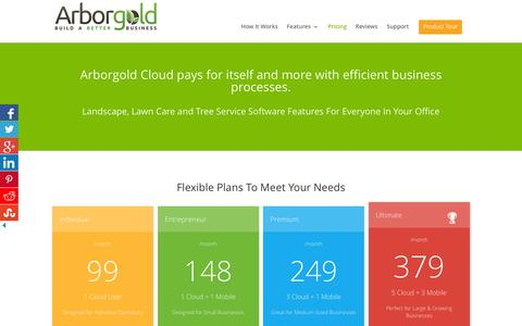 Screenshot of Pricing Page arborgold.com - Arborgold Pricing - Tree Lawn and Landscape Software - captured Feb. 6, 2016