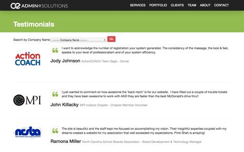 Screenshot of Testimonials Page adminesolutions.com - Testimonials - captured Sept. 19, 2014