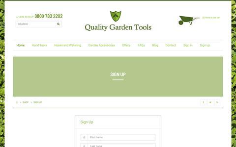Screenshot of Signup Page qualitygardentools.com - Sign Up - captured Sept. 28, 2018