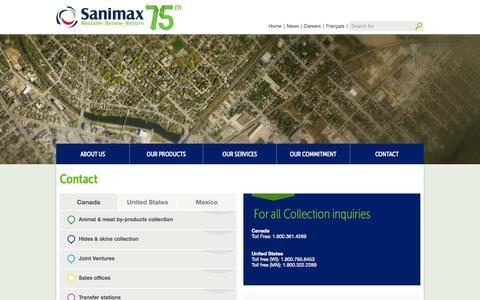 Screenshot of Contact Page sanimax.com - Contact - - captured Sept. 30, 2014