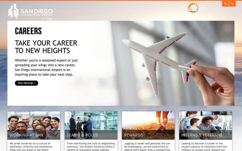 Screenshot of Jobs Page san.org - San Diego International Airport > Careers - captured Oct. 31, 2014