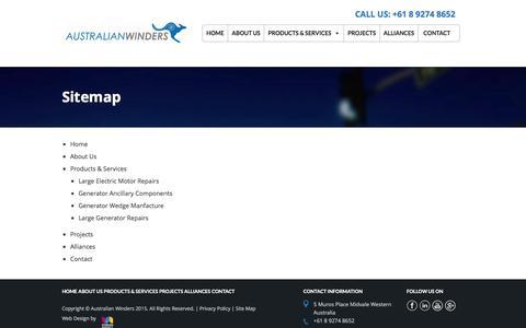 Screenshot of Site Map Page australianwinders.com.au - Sitemap | Australian Winders - captured Dec. 27, 2015