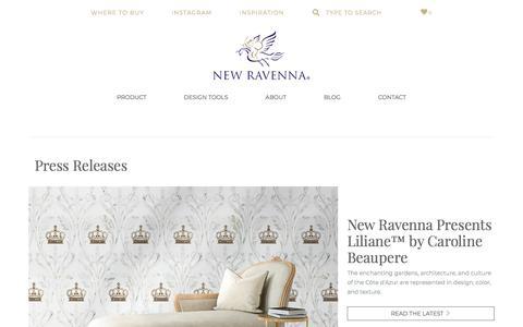 Screenshot of Press Page newravenna.com - Press Releases | New Ravenna : New Ravenna - captured Aug. 9, 2019