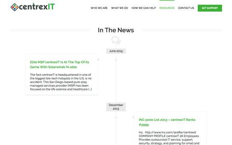 Screenshot of Press Page centrexit.com - Hot News | San Diego's Leader in IT Management | centrexIT.com - captured March 17, 2016
