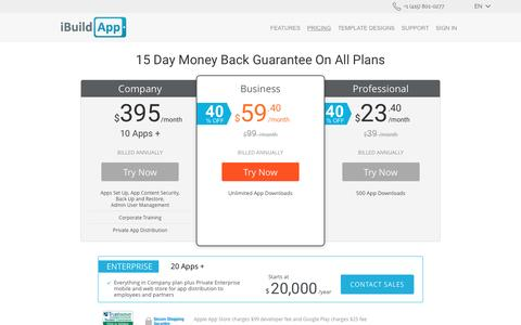 Screenshot of Pricing Page ibuildapp.com - HOW MUCH DOES IT COST TO MAKE AN APP FOR IPHONE, CREATE - captured May 9, 2017