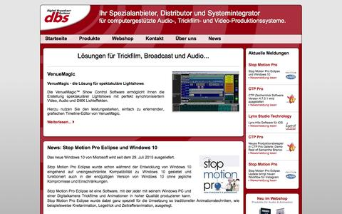 Screenshot of Home Page dbsys.de - Trickfilm, Broadcast, Audio... - captured Aug. 10, 2015