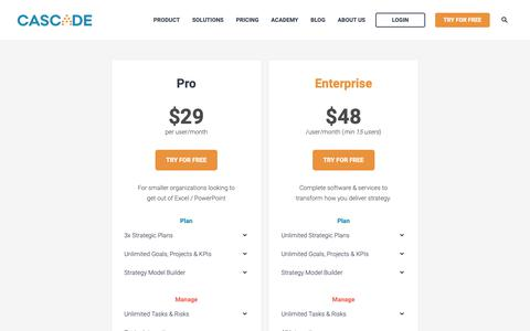 Screenshot of Pricing Page executestrategy.net - Pricing - captured June 3, 2019