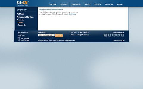 Screenshot of Jobs Page sitecm.com - Careers || SiteCM Content Management System (SaaS) - captured Oct. 7, 2014
