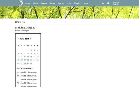 Screenshot of Hours Page edenprairiecenter.com - Eden Prairie Center :: 8251 Flying Cloud Drive Eden Prairie, MN 55344 - captured June 13, 2016