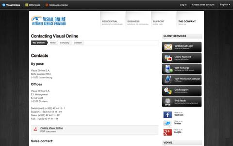 Screenshot of Contact Page vo.lu - Visual Online - How to contact us - Visual Online - captured Sept. 25, 2014