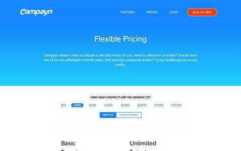 Screenshot of Pricing Page campayn.com - Campayn - captured July 15, 2018