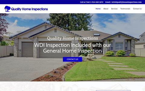 Screenshot of Home Page qualityhouseinspections.com - Quality Home Inspections | Westchester County & NYC | Home Inspectors - captured Sept. 26, 2018