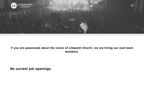 Screenshot of Jobs Page lifepoint.org - Jobs - Lifepoint Church - captured Nov. 9, 2016
