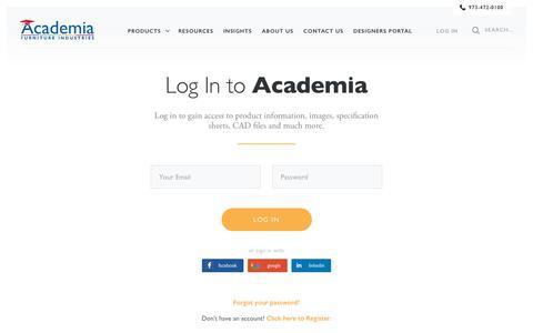 Screenshot of Login Page academiafurniture.com - America's Collaborative School Furniture… - Academia Furniture - captured July 28, 2018