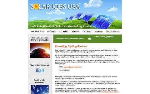 Screenshot of Home Page solarjobsusa.com - Solar Jobs USA :: Home - captured Sept. 30, 2014